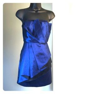DOUBLE ZERO sz M blue black cocktail dress